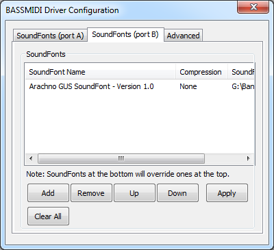 Installing and configuring BASSMIDI Driver